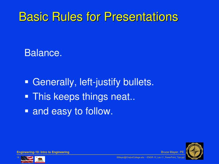 Basic Rules for Presentations