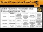 student presentation scorecard