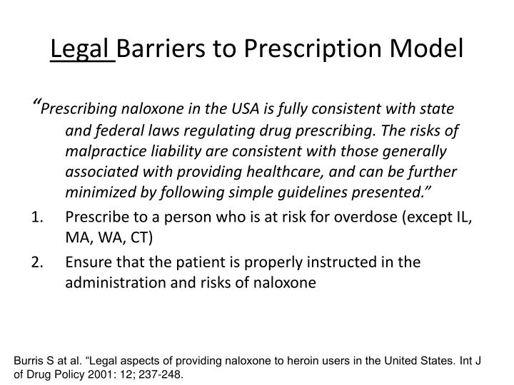 Legal barriers to prescription model