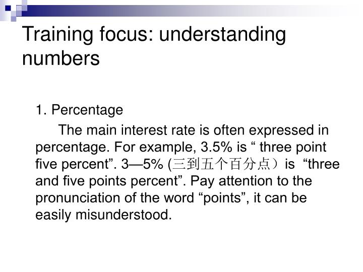 Training focus: understanding numbers