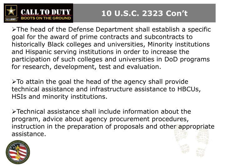 10 U.S.C. 2323 Con't