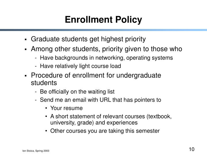 Enrollment Policy