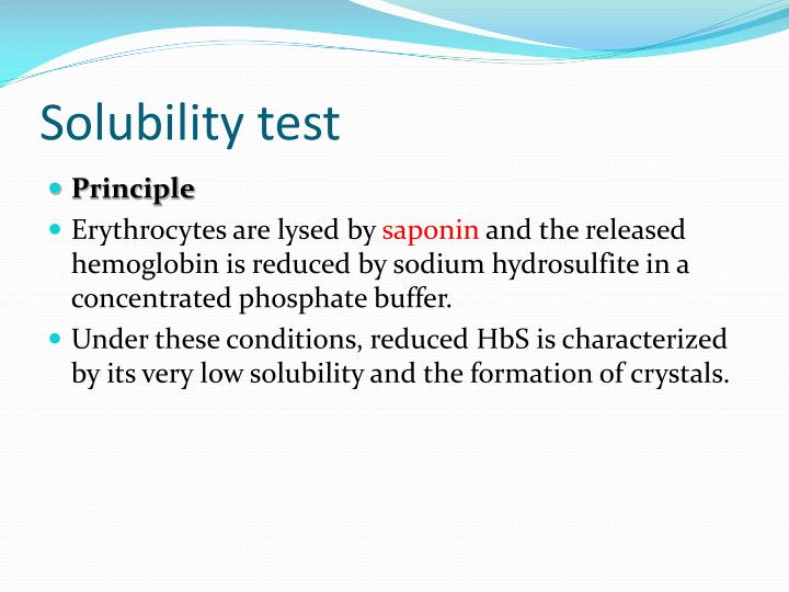 Solubility test