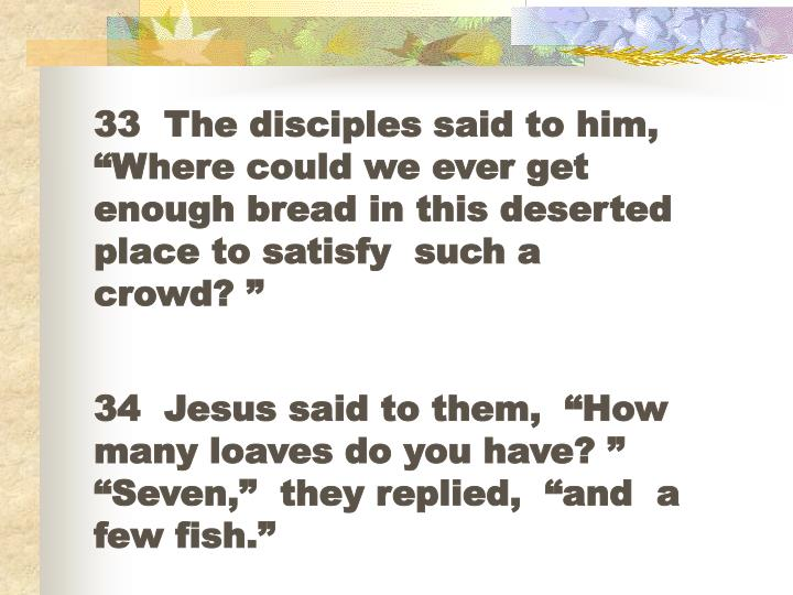 "33  The disciples said to him, ""Where could we ever get enough bread in this deserted place to satisfy  such a crowd? """