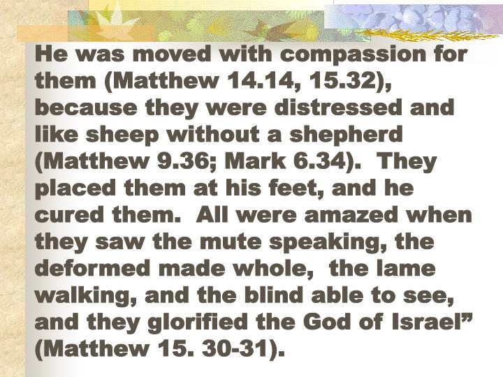 "He was moved with compassion for them (Matthew 14.14, 15.32), because they were distressed and like sheep without a shepherd (Matthew 9.36; Mark 6.34).  They placed them at his feet, and he cured them.  All were amazed when they saw the mute speaking, the deformed made whole,  the lame walking, and the blind able to see, and they glorified the God of Israel"" (Matthew 15. 30-31)."