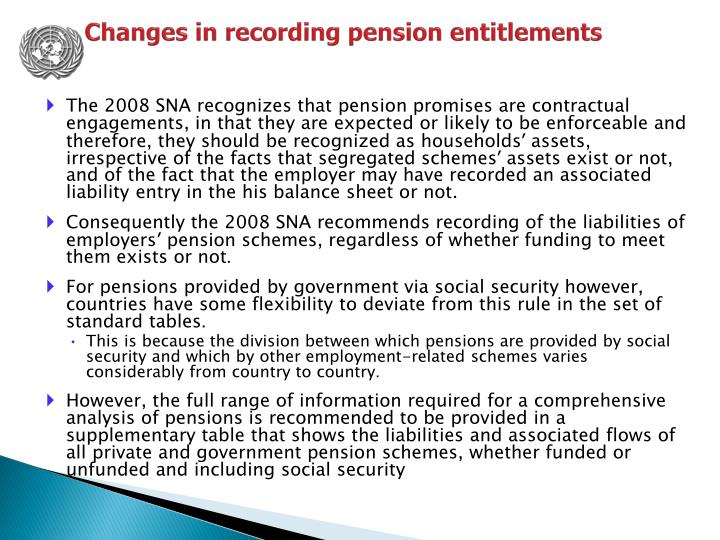 Changes in recording pension entitlements