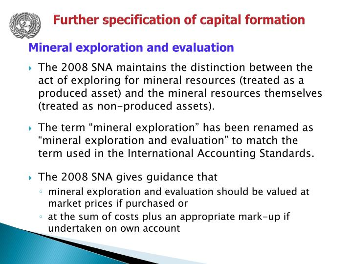 Further specification of capital formation