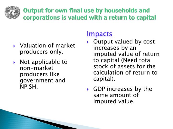 Output for own final use by households and corporations is valued with a return to capital