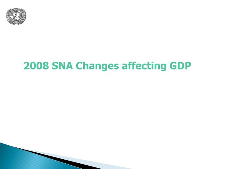 2008 SNA Changes affecting GDP