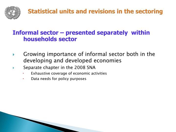 Statistical units and revisions in the sectoring