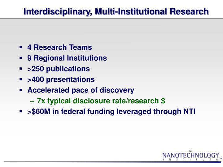Interdisciplinary, Multi-Institutional Research