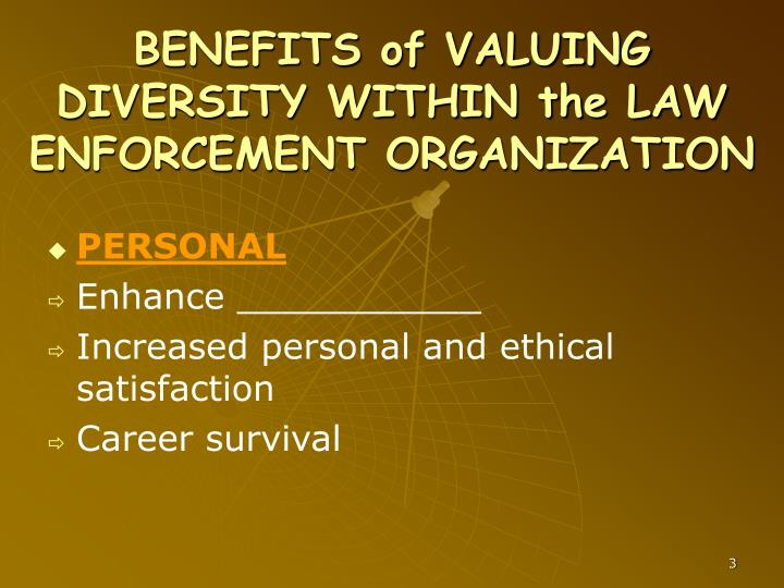BENEFITS of VALUING DIVERSITY WITHIN the LAW ENFORCEMENT ORGANIZATION