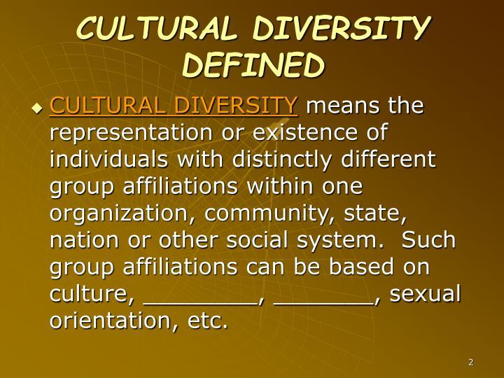 CULTURAL DIVERSITY DEFINED