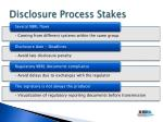 disclosure process stakes