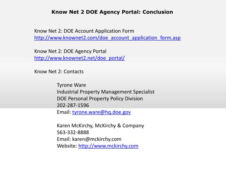 Know Net 2 DOE Agency Portal: