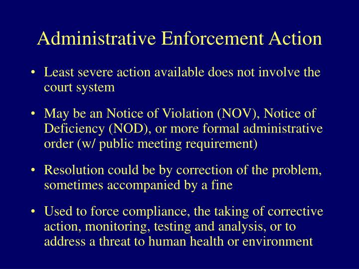 Administrative Enforcement Action
