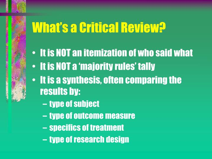 What's a Critical Review?