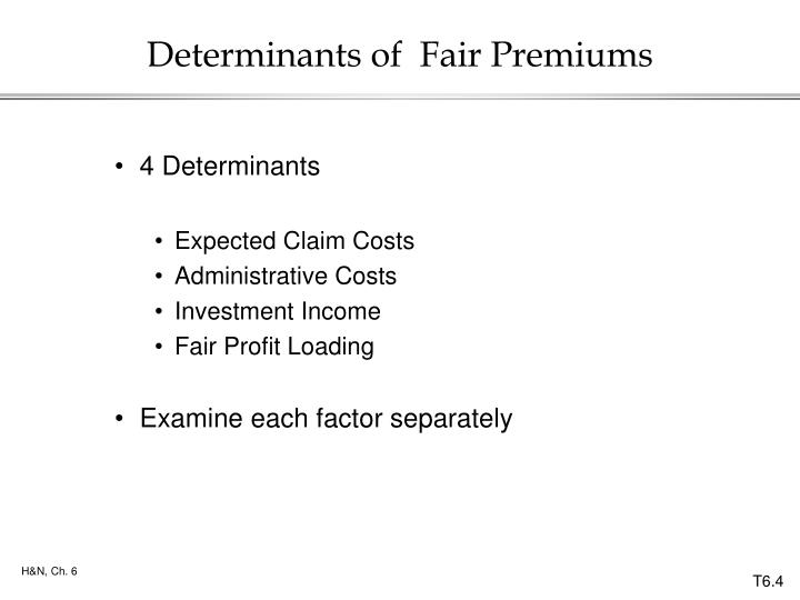 Determinants of  Fair Premiums
