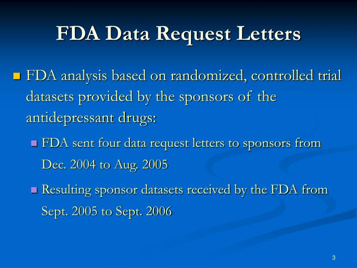 FDA Data Request Letters