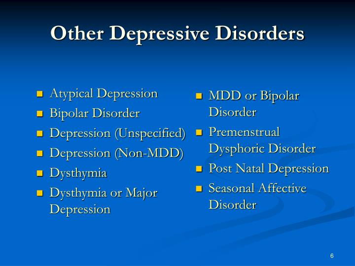 Other Depressive Disorders