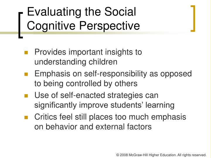 Evaluating the Social Cognitive Perspective