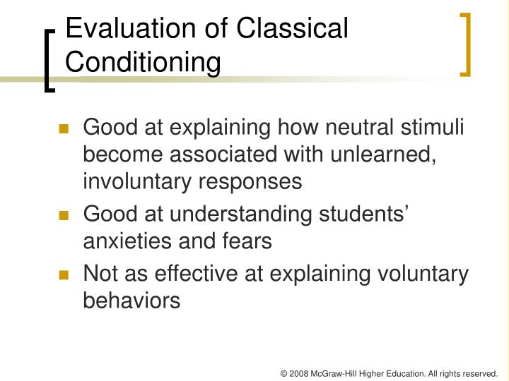 Evaluation of Classical Conditioning