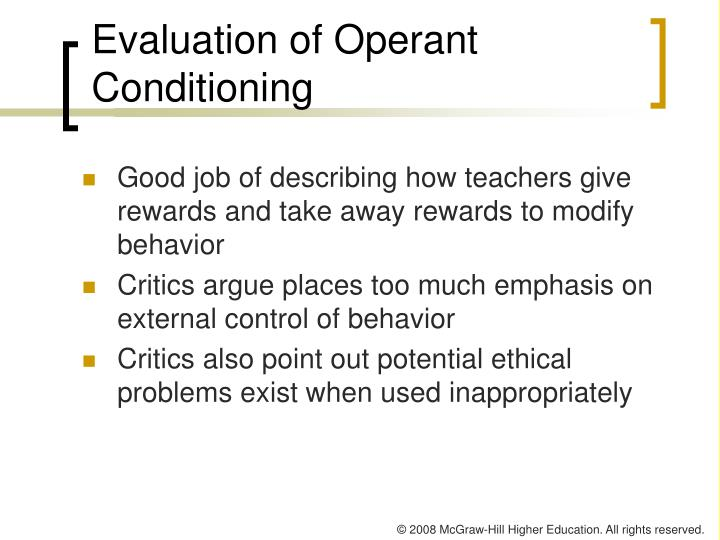 Evaluation of Operant Conditioning