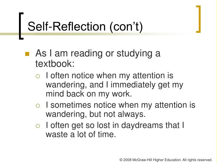 Self-Reflection (con't)