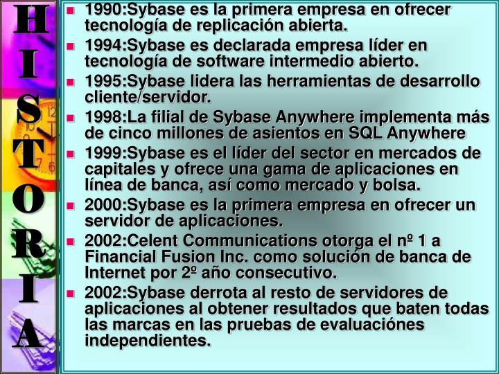 1990:Sybase es la primera empresa en ofrecer tecnología de replicación abierta.
