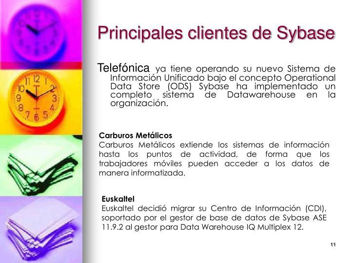 Principales clientes de Sybase