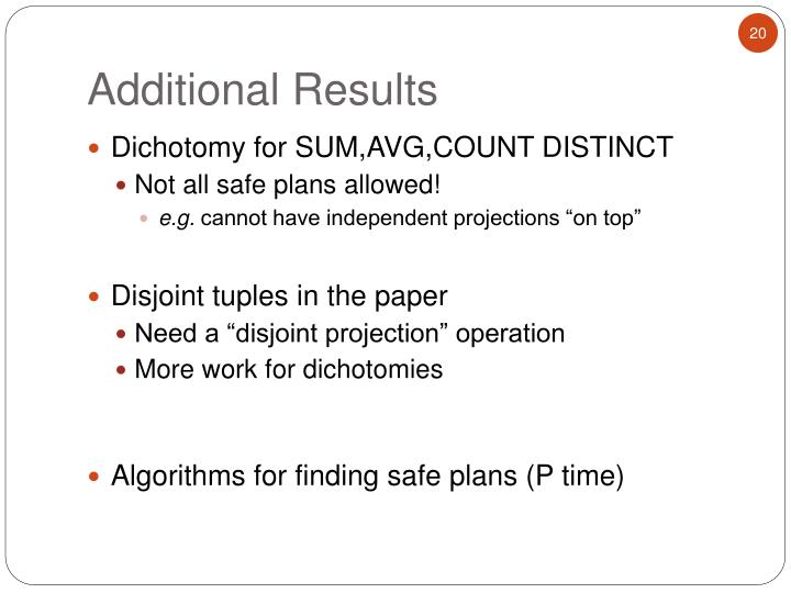 Dichotomy for SUM,AVG,COUNT DISTINCT