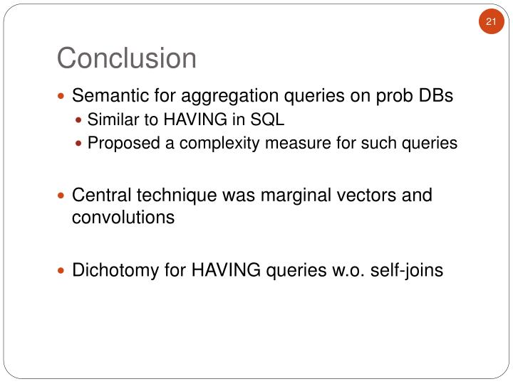 Semantic for aggregation queries on