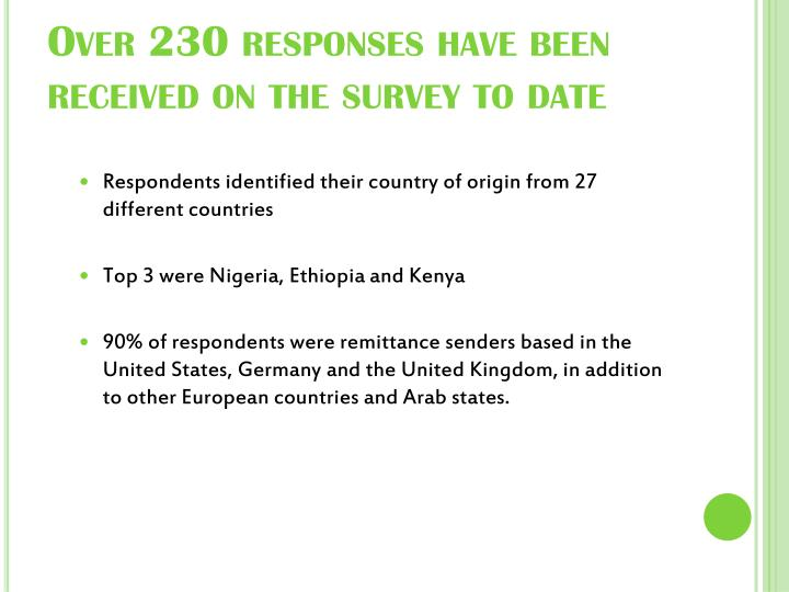 Over 230 responses have been received on the survey to date