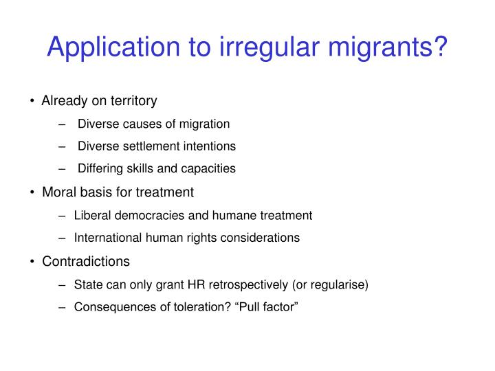 Application to irregular migrants?