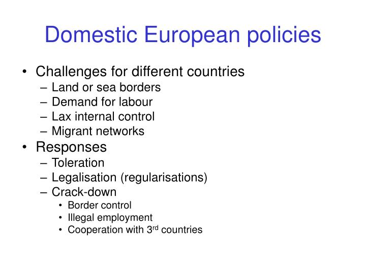 Domestic European policies