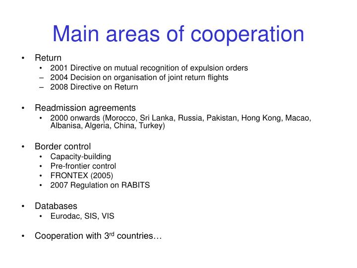 Main areas of cooperation