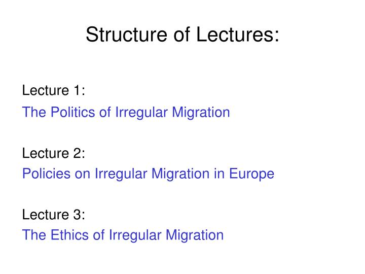 Structure of lectures