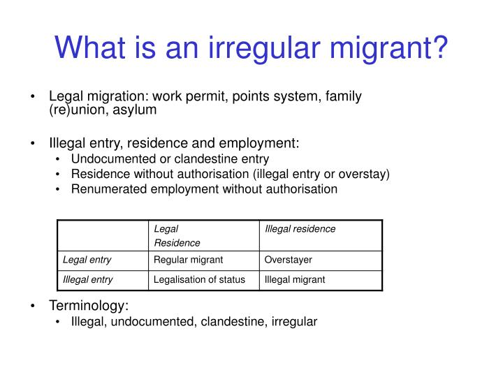 What is an irregular migrant?