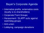 bayer s corporate agenda