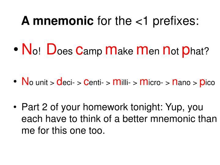 A mnemonic