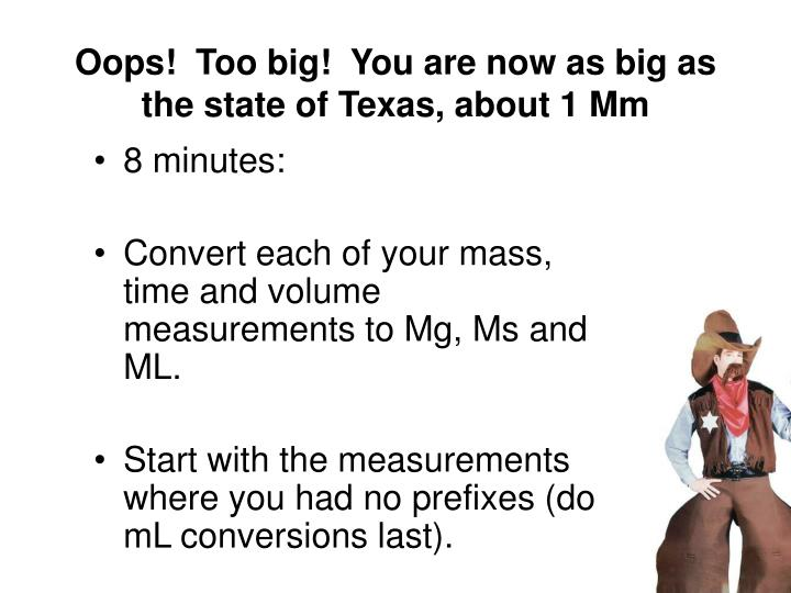 Oops!  Too big!  You are now as big as the state of Texas, about 1 Mm