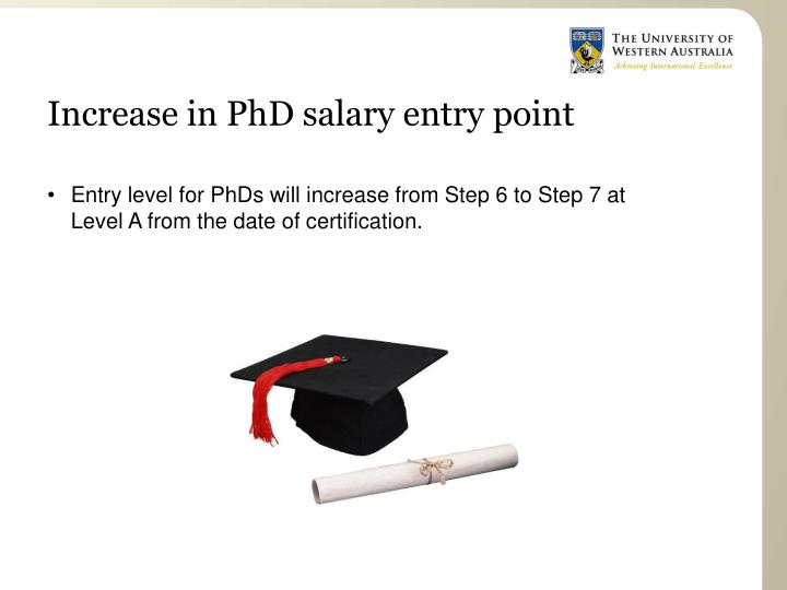 Increase in PhD salary entry point