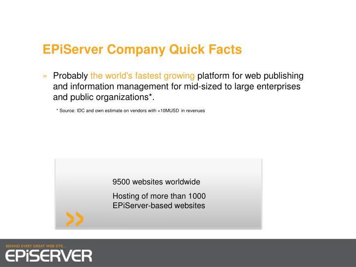 EPiServer Company Quick Facts