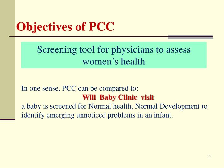 Objectives of PCC