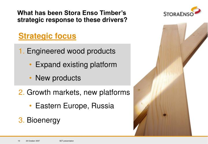 What has been Stora Enso Timber's strategic response to these drivers?