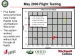 may 2003 flight testing
