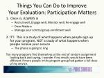 things you can do to improve your evaluation participation matters