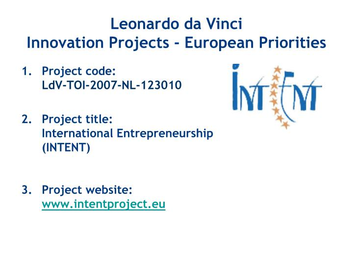 Leonardo da vinci innovation projects european priorities1
