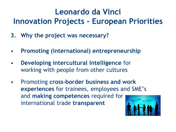 Leonardo da vinci innovation projects european priorities2