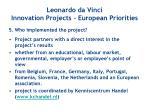leonardo da vinci innovation projects european priorities4